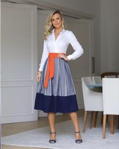 Trendy Outfits, Girl Outfits, Cute Outfits, Fashion Outfits, Womens Fashion, The Dress, Dress Skirt, Midi Skirt, Olivia Palermo Style