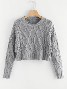 To find out about the Mixed Knit Solid Crop Jumper at SHEIN, part of our latest Sweaters ready to shop online today! Cropped Sweater, Jumper, Grey Fashion, Fashion Outfits, Fashion Fashion, Fashion Ideas, Vintage Fashion, Sweater Outfits, Cute Outfits