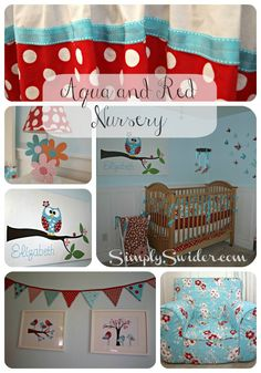 Aqua and red girl's nursery with DIY crib bedding and etsy art