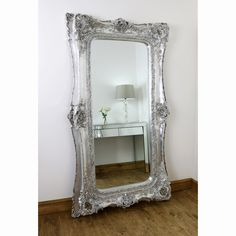 Verdena - Platinum Silver Ornate Twin Frame Full Length Mirror x x Beaded Mirror, Ornate Mirror, Wood Mirror, Wall Mirrors Set, Mirror Set, Extra Large Mirrors, Silver Leaf Painting, Circular Mirror, Scroll Pattern