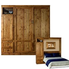 Another gorgeous example of Stuart David's Valley View Murphy Bed (Wall Bed). By changing small details like wood, finish, and configuration, this fine wall bed can take on an entirely different look! Add another bookcase on the opposite side, maybe even a return desk... The custom options are all yours at Stuart David Home Furnishings.
