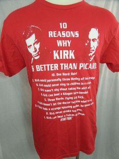 Star Trek T-Shirt Captain Kirk vs. Captain Picard Mens Large Red 2011 CBS Studio #StarTrek #GraphicTee