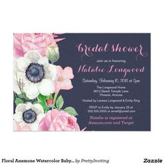 Floral Anemone Watercolor Baby or Bridal Shower 5x7 Paper Invitation Card