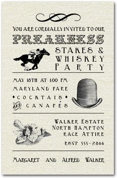 Vintage hats of men and women and a horse and jockey, perfect for your Belmont Stakes Party invitations or any other horse race party, just change the wording. Kentucky Derby, Horse Racing Party, Crown Party, Preakness Stakes, Derby Day, Derby Time, Run For The Roses, Race Party, Party Invitations