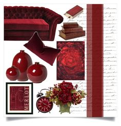 """""""oxblood decor"""" by thysania ❤ liked on Polyvore featuring interior, interiors, interior design, home, home decor, interior decorating, Emissary, Loloi Rugs, Nearly Natural and Imax Home"""