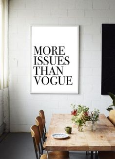 MORE Issues than VOGUE Fashion Printable  Typography Poster