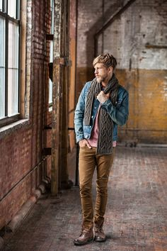 somthing I lke about his combo. jean jacket , t-shirt , khaki twill jeans , desert boots , scarf