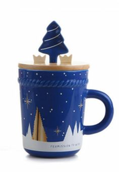 Price:$25.99 Material: Ceramics Color: Blue Festive Lovers Christmas Trees Gift Stars Cover Colorful Spoon Mug Cup