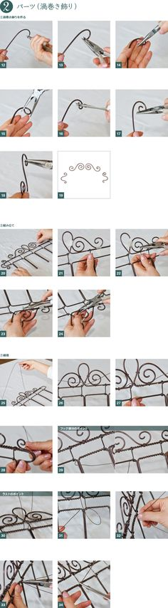 Instructions for miniatures with wire Wire Crafts, Metal Crafts, Hobbies And Crafts, Diy And Crafts, Wire Ornaments, Wire Tutorials, Dollhouse Tutorials, Wire Hangers, Miniature Furniture