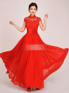 Stunning A-line High-neck Lace Flower Short-sleeves Long Evening Dress  Allie Fox, I like this one.  What do you think?