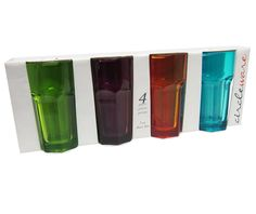 CIRCLEWARE ICEBERG 4-PIECE COLORED JUICE GLASSES - 7 OUNCES