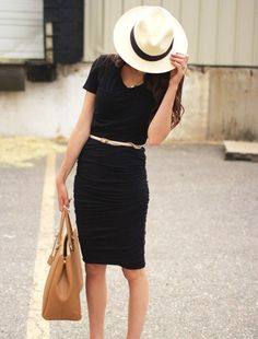 Summer chic in a cute black dress with a belt and adorable hat. Accessorize it my darlings...and wow! Check out JewelMint too for more accessories:)