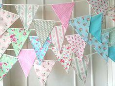 Shabby Chic Fabric Banners Bunting Garland Wedding by BerryAlaMode