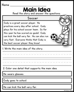 1st or 2nd Grade Main Idea Worksheet about Storms | Let' read second ...