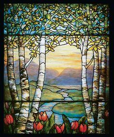 Tiffany stained glass ~ birch tree scene