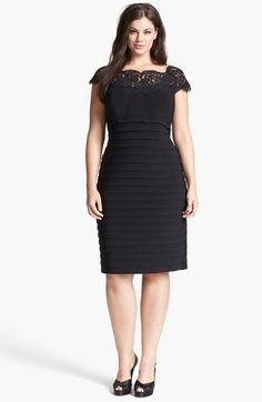 Xscape Lace Yoke Shutter Pleat Sheath Dress (Plus Size) available at #Nordstrom