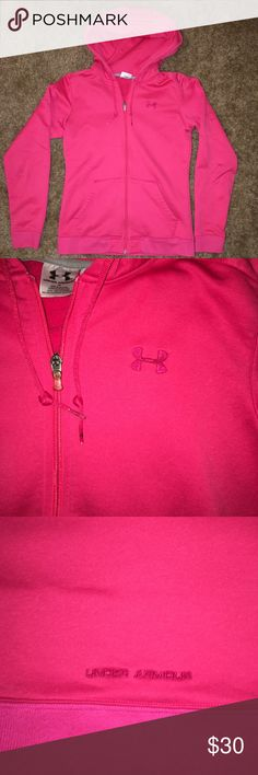 Under Armour full zip hoodie Hot pink full zip Under Armour hoodie. In good condition! Size small. Make an offer! Under Armour Tops Sweatshirts & Hoodies