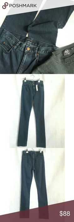 """Theory High Waist Slim Leg Jeans Gorgeous tinted green dark wash, high waist slim leg jeans.  Waist measures  28 """"  35"""" inseam 10"""" rise Theory Jeans Straight Leg"""