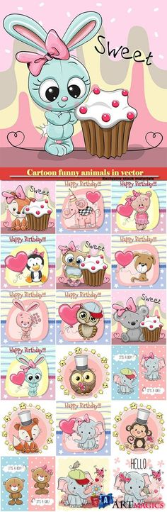 Cartoon funny animals in vector, owl, baby elephant, bunny