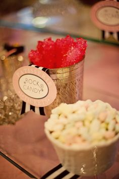 Rock candy and pillow mints- Yum!