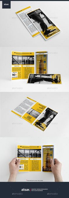 Corporate Yellow Trifold Brochure Template #design Download: http://graphicriver.net/item/corporate-yellow-trifold/12445510?ref=ksioks