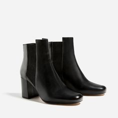 HIGH HEEL LEATHER ANKLE BOOTS WITH STRETCH DETAIL-Ankle boots-SHOES-WOMAN   ZARA United States