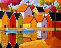 Seaside Village Boats 5x7 Art Print Modern Folk Art, Harbor Water Reflection Town Landscape, Waterside Artwork Decor by Artist Cathy Horvath