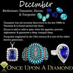 December Birthstone Information & Lore  #December #Turquoise #Tanzanite