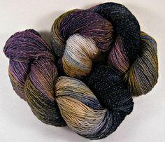 Plumgold Hand-dyed Superwash Merino/Lurex Yarn by yarnwench