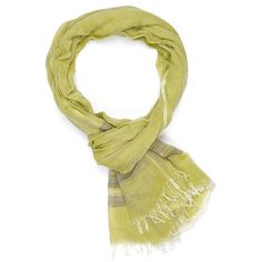 Bay Breeze Chartreuse Indigo Handloom ❤ liked on Polyvore featuring scarves