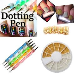 Jovana Gold  Silver Caviar Bean Bead Steel Ball Bead Nail Art Decoration5 X 2 Way Marbleizing Dotting Pen Set *** See this great product.Note:It is affiliate link to Amazon.