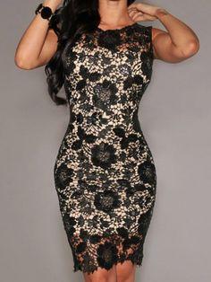 Elegant Jewel Neck Sleeveless Bodycon Lace Dress For Women
