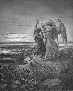 Gustave Doré, Jacob Wrestles with the Angel (1866)