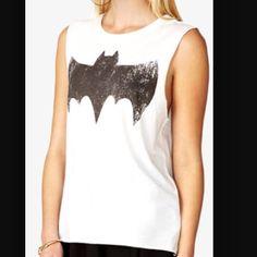 Sleeveless Batman Shirt White sleeveless batman shirt. Worn twice. Size medium. Bought it at Forever21 last year. Forever 21 Tops