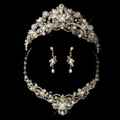 Gold Plated Freshwater Pearl Wedding Tiara and Jewelry Set - on sale now at Affordable Elegance Bridal -
