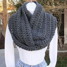 Solid Gray Large, Wide INFINITY LOOP COWL SCARF  Incredibly Soft, Warm, and Cozy Medium-Dark Heathered Grey Infinity Scarf hand-crocheted with a high