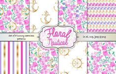 Floral nautical seamless pattern set by Gaynor Carradice Designs on @creativemarket