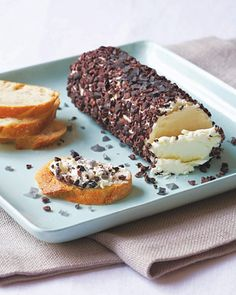 goat cheese, black sea salt, and cacao nibs.  Everything is going on the grocery list.  recipe from Mark Bitterman via TheKitchn