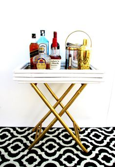Bamboo Bar Tray Table  Gold & White Hollywood by ElectricMarigold, $225.00