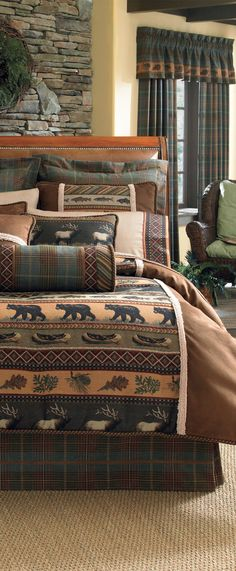 The Caribou Lodge Bedding Collection by Croscill is the perfect choice for a cabin or lodge, with its stunning combination of rustic themes and an elegant finishing. Show your love of the outdoors with this charming and warm bedding set that layers rows of scenic design, framed with a plush border. The comforter is incredibly soft micro suede with plaid pattern in deep, rich tones adorning the euro shams and bed skirt. #rusticbedding #lodgebedding Western Bedding Sets, Rustic Bedding, Rustic Bedrooms, Bedroom Themes, Bedroom Decor, Bedroom Ideas, Log Home Decorating, Interior Decorating, Interior Design