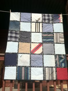 Using clothing fabrics: Memory-quilt-from-old-clothes. Amy Caveness