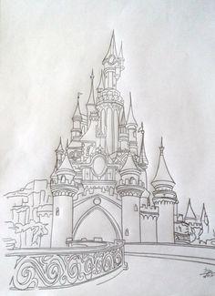 dessin au crayon de papier disney | Dessin au crayon de notre beau château: