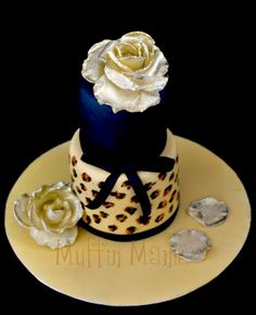 Jaguar Cake With Golden Roses Printed cakepins.com