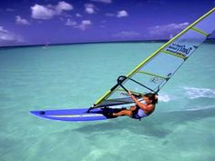 Windsurfing in Aruba - look at the colour of that water!