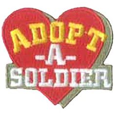 Adopt A Soldier, Military, Heart, Help, Veteran, War, Patch, Embroidered Patch, Merit Badge, Crest, Girl Scouts, Boy Scouts, Girl Guides