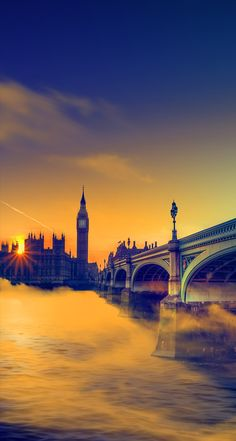 UK-Sunset-Big-Ben-Bridge - mobile9