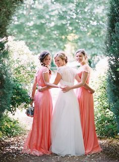 Bohemian Romantic Wedding Ideas - Coral Pink Lace Bridesmaid Dresses