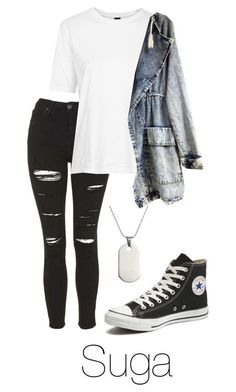 RUN M/V: Suga by btsoutfits ❤ liked on Polyvore featuring Topshop, Boutique and Converse