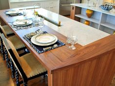 Mix Countertop Materials - 17 Top Kitchen Design Trends on HGTV/ Wood countertop for eating space looks great! Outdoor Kitchen Countertops, Laminate Countertops, Kitchen Backsplash, Kitchen Cabinets, Kitchen Island, Bathroom Countertops, Kitchen Wood, Granite Kitchen, Backsplash Ideas