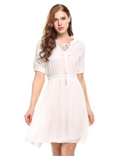 White Casual Lace Half Sleeve Patchwork V Neck Pullover Chiffon Tunic Dress